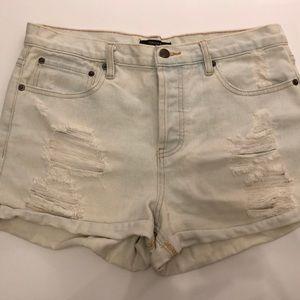 High Waisted Light Denim Shorts